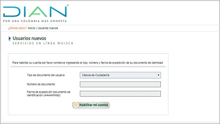 Registro de usuarios nuevos en MUISCA