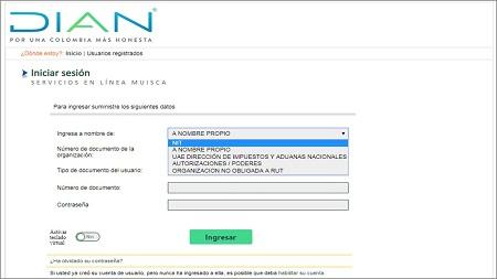 Ingreso en MUISCA de usuarios registrados