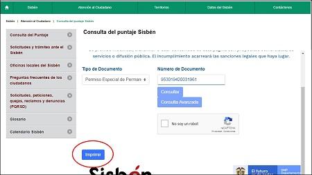 Imprimir certificado del Sisbén