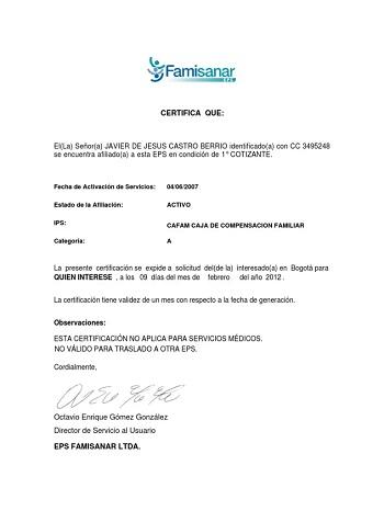 Modelo de Certificado Famisanar