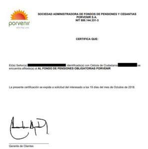 Certificado de Afiliacion Porvenir 2020 - 2021